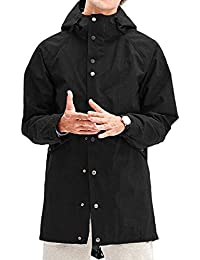 Mens Rain Jacket Waterproof with Hood Long Multi Jacket Urban Outdoor
