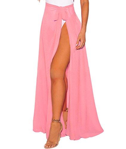 - XAKALAKA Women's Sheer Wrap High Waist Beach Sarong Cover up Maxi Skirt Coral