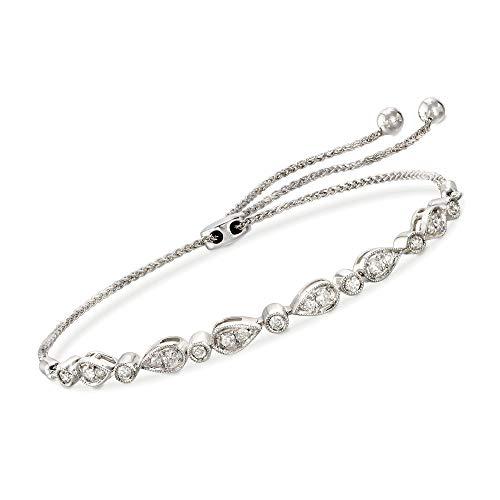 Ross-Simons 0.50 ct. t.w. Diamond Bolo Bracelet in 14kt White Gold (1/2 Ct Tw Diamond Bracelet)