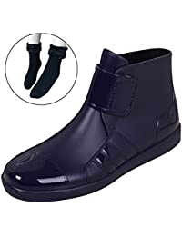 Mens Hook and Loop Rain Boots Wellington Ankle High Stylish Man Wellies Bootie Male Chelsea Shoes