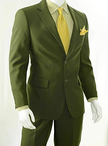 (Mens Olive Green Polyester 2 Button Classic Fit Suit New(42S/36Waist Regular))