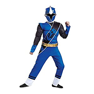 - 41aq2gh1P6L - Power Rangers Ninja Steel Blue Ranger Boys Muscle Costume – L