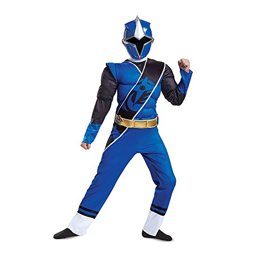 Disguise Ranger Ninja Steel Muscle Costume, Blue, Small (4-6) (Girl Power Ranger Costume)