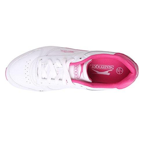 Slazenger Klassieke Dames Trainers Rijgvullende Enkelkraag Sneakers Wit / Cerise