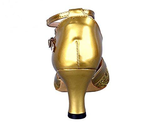 Honeystore Womens Dance Gold Latin Honeystore Womens Toe Shoes Sequins Round qgPFEwS5x