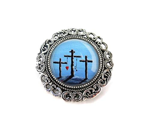 Christian Cross Crucifix Brooch - 2 Pin Styles Available - Baptism or Confirmation Gift - Silver Boutonniere Charm - Religious ()