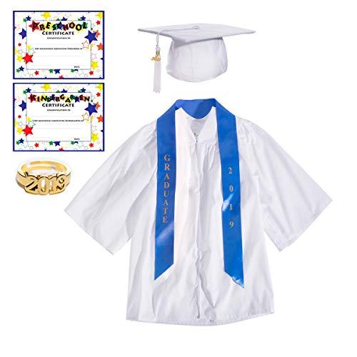 White Deluxe Matte Preschool Graduation Set - Small, 7-Piece Set -