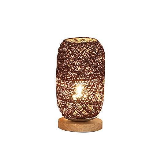 certainPL Wood Rattan Twine Ball Lights Table Lamp Desk Light Room Home Art Decor (Brown)
