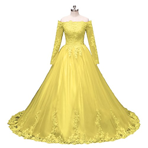 Pettus Women's Long Sleeves Lace Ball Gown Evening Dress Prom Dresses Long 2018