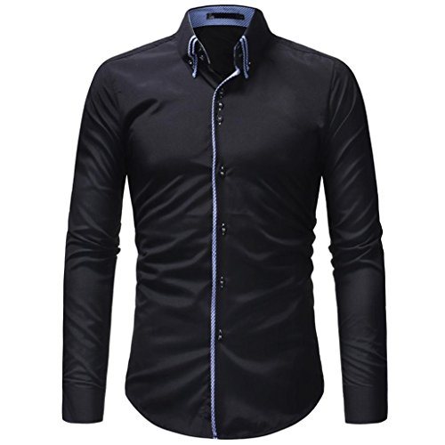 OWMEOT Mens 100% Cotton Casual Slim Fit Long Sleeve Button Down Printed Dress Shirts (Black, XL) by OWMEOT