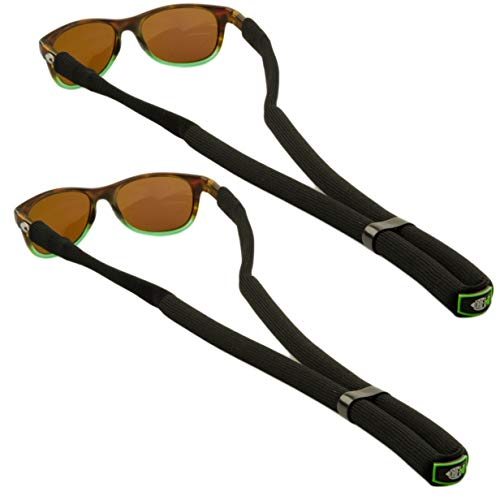 DriftFish Floating Sunglass Strap | Float Your Eyeglasses and Sunglasses| Glasses Float Adjustable Eyewear Retainer | Includes 2 Floatable Lanyards, Black