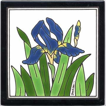 BLUE IRIS TILE, BLUE IRIS WALL PLAQUE, BLUE IRIS TRIVET
