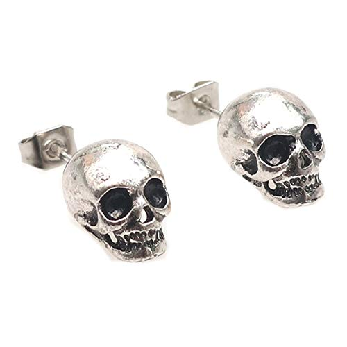 (Unisex 925 Sterling Silver Plated White/Black Skull Earring Human skeleton Head Charm Stud Post Earrings (White))