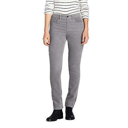 Lands' End Women's Petite Mid Rise Straight Leg Corduroy Pants, 8 26, Silver Mist -