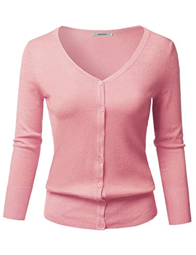 (Solid Button Down V-Neck 3/4 Sleeves Knit Cardigan Lightpink M)