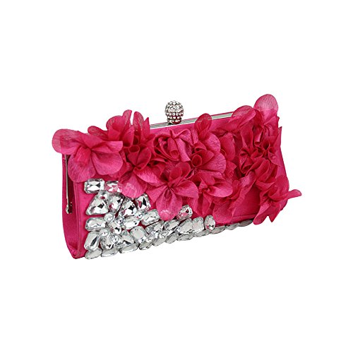 Ya Jin Diamond Stud Silk Flowers Cocktail Evening Clutch Bags Rose