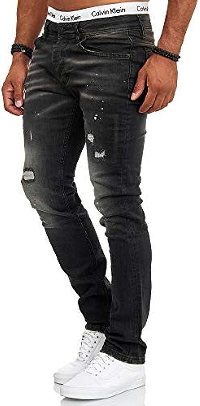 OneRedox designerskie męskie dżinsy Slim Fit dżinsy Destroyed Stretch model 700: Odzież