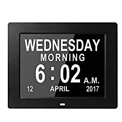 Véfaîî 2 UI- Large Day Clock Digital Calendar for Memory Loss Elderly Seniors Dementia Alzheimers Vision Impaired Patients 6 Ft Power Cord+5 Alarms+3 Medicine Reminders+Digital Picture Frame (Black)