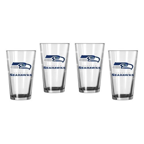 (NFL Football Satin Etch Pint Glasses - 16 ounce Beer Glasses, Set of 4 (Seahawks))