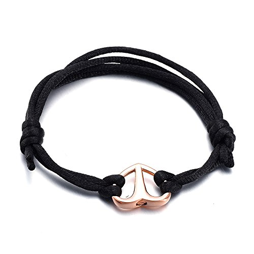 Black Rope Cremation Bracelet For Ashes - Expandable Length (Rose gold) ()