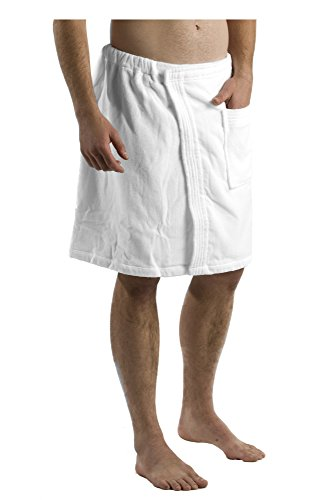 robesale Personalized Mens Bath Wrap Towels, Terry Cover Ups for Men - White, XXL ()