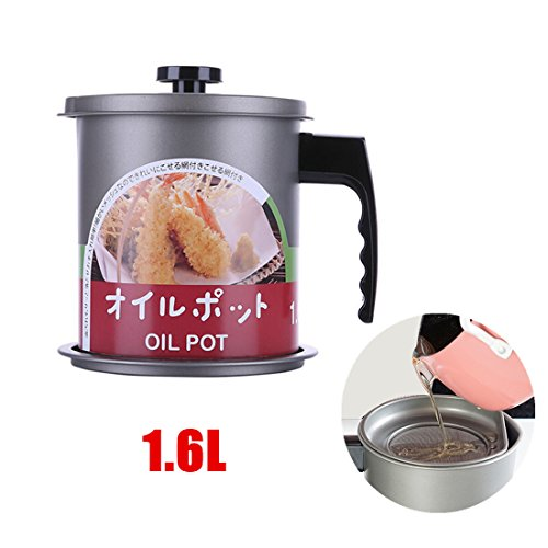 Cooking Oil Storage Grease Keeper, Grease Oil Strainer Container Pot with Filter for Deep Fryer