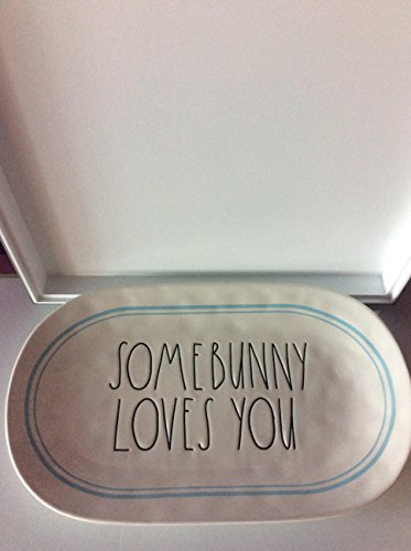 "(Rae Dunn Artisan Collection Large Letter Some Bunny Loves You Ceramic Easter Platter 15""x 9"")"