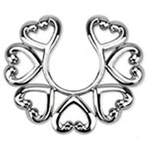 PiercedOff Heart Ring Non-Piercing Clip On Nipple Ring Shield (Sold as a Pair)