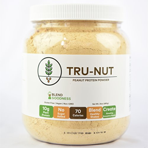 Tru-Nut Peanut Protein Powder (19 servings, 24oz jar) - 20g Plant Protein - Keto, Gluten-Free, Vegan, Non GMO
