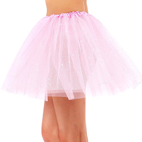 Pink Tulle Layered Tutu (Women's Classic 3 Layered Tulle Sparkling Sequin Tutu Skirt, Light Pink)