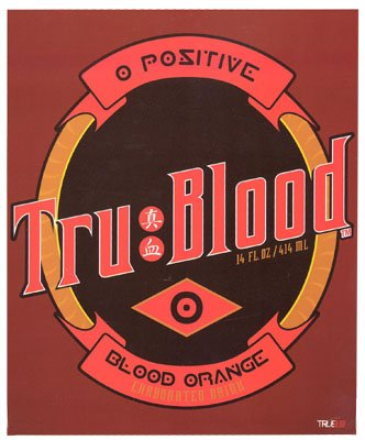 True Blood HBO Series Vampires O Positive Fleece Throw Blanket (Throw Blanket Fleece Series)