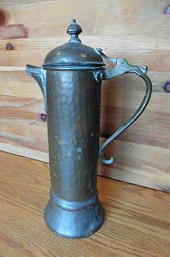 Pitcher Brass and Copper Vintage hand made hammered tall tea pot hinged lid