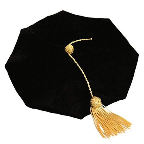 (New Doctoral Tam Black Velvet 8-Sided Golden Bullion Tassel One Size Fits Most College Cap by iBelly)