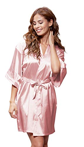(Women's Pure Color Satin Short Kimono Bridesmaids Lingerie Robes (Small/Medium, Light Pink))