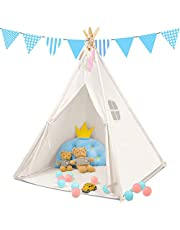 Monobeach Teepee Tent for Kids Foldable Children Play Tent for Girl and Boy with Carry Case 4 Poles Canvas Playhouse Toy for Indoor and Outdoor Games