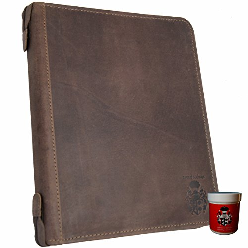 BARON of MALZAHN Ring binder Writing conference folder LINDBERGH of brown leather + leather care by Baron of Maltzahn