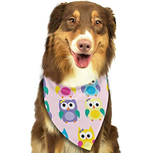 ZZJIAK Dog Bandana Scarf Girly Owls On Pink Triangle Bibs Printing Kerchief Set Accessories Dogs Cats Pets -