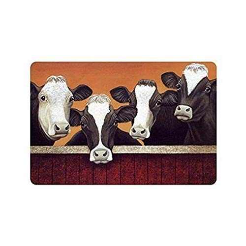 Usvbzd Custom Kitchen Rugs Funny Milk Cow Decorative Doormat Indoor/Outdoor Doormat 23.6 X 15.7 inch Decor Rug Fabric