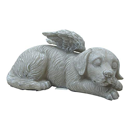 Comfy Hour Resin Memorial Stone Sleeping Dog Angel Pet Statue, Handmade, Faithful Memory of Dog's Bereavement ()