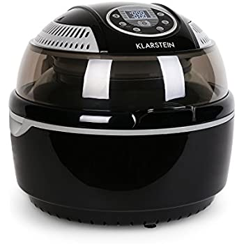 KLARSTEIN VitAir Hot Air Fryer • Hot Air Deep Fryer • Reduced-Fat Frying, Baking, Grilling and Roasting • 9.6 qt. Cooking Chamber • 1400 Watts Halogen Infrared Heating Element • Up to 230°C • Black
