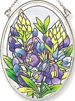 Amia Hand Painted Glass Suncatcher with Bluebonnet Design, 3-1/4-Inch by 4-1/4-Inch - Hand Glass Painted Suncatcher