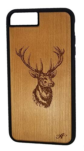 Laser Engraved Cherry Wood Cell Phone Case Compatible with The iPhone 6 Plus, 6s Plus, 7 Plus, and 8 Plus-Created from Image of a Buck - Cell Phone Cherry Case