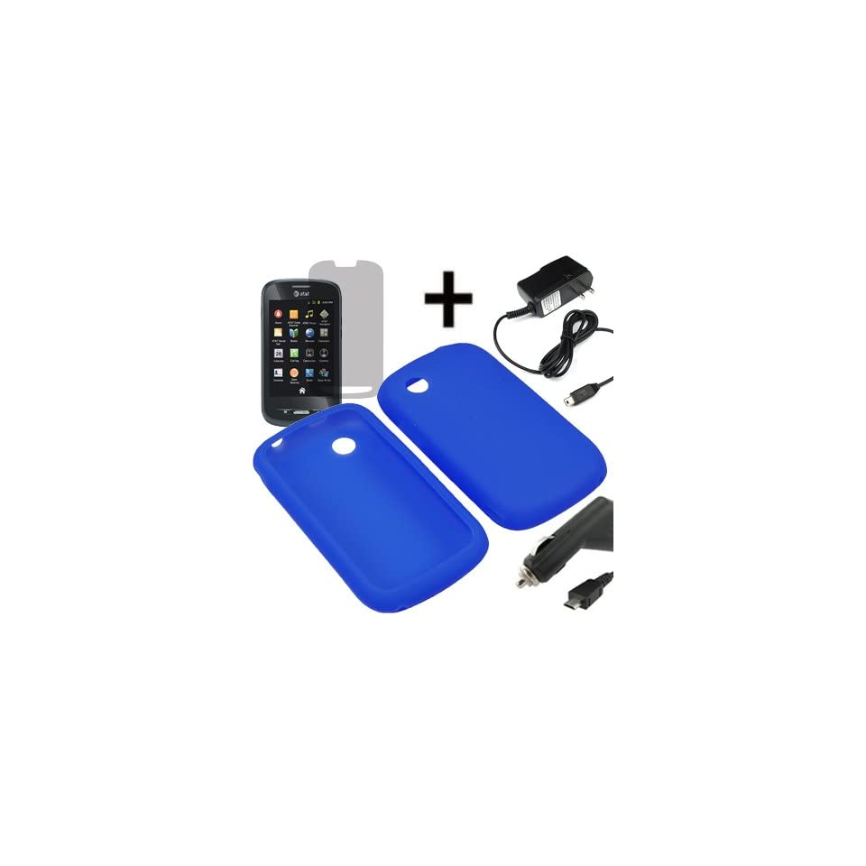 AM Soft Sleeve Gel Cover Skin Case for AT&T ZTE Avail Z990 + LCD + Car Home Charger Blue
