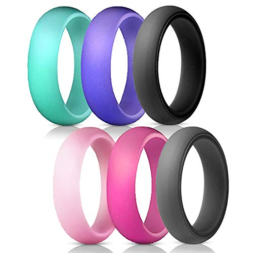 GM Wear Silicone Wedding Rubber Ring Women 6 Pack Athletic Band Set Size 6