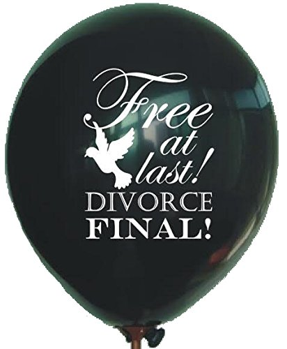 Divorce Party Balloons Free at Last Black with White Writing and Dove 6 pack by By Definition