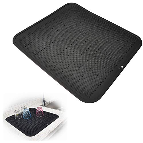 "Dish Drying Mat, Silicone Drying Mats for Dishes Glasses, Kitchen Black Rubber Drainer Sink Mat for Counter – Waterproof, Heat Resistant Pad / 17.6"" x 15.8"" by Kindga"