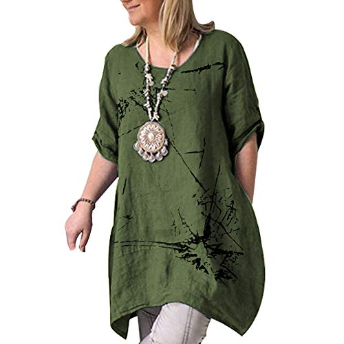 Sleeve Printed Tunic - Cicy Bell Women's Cotton Linen Tunic Tops Printed Half Sleeve Summer Loose Fit Casual Dresses (Green,XX-Large)