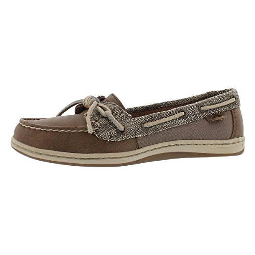 Sperry Leather Tie Sider Top (Sperry Women's Barrelfish Heavy Linen Taupe Oxford)