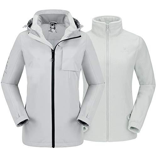 Womens 3 in 1 Ski Jacket Mountain Waterproof Jackets Windproof Rain Jacket with Fleece Coat