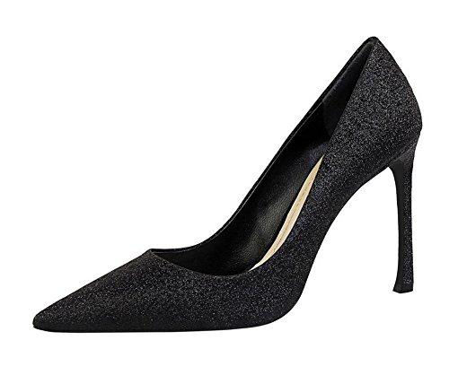 Negro Tacón Sin Pu Alto Cerrada Zapatos Aalardom Puntera De Cordones Mujeres O4fqawxv